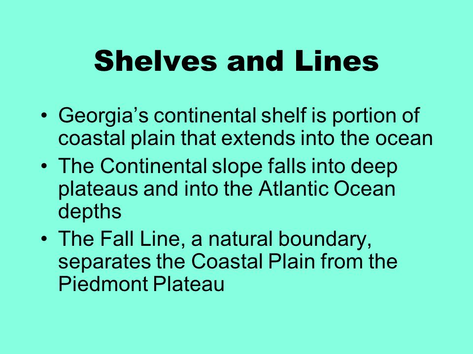 Shelves and Lines Georgia's continental shelf is portion of coastal plain that extends into the ocean.
