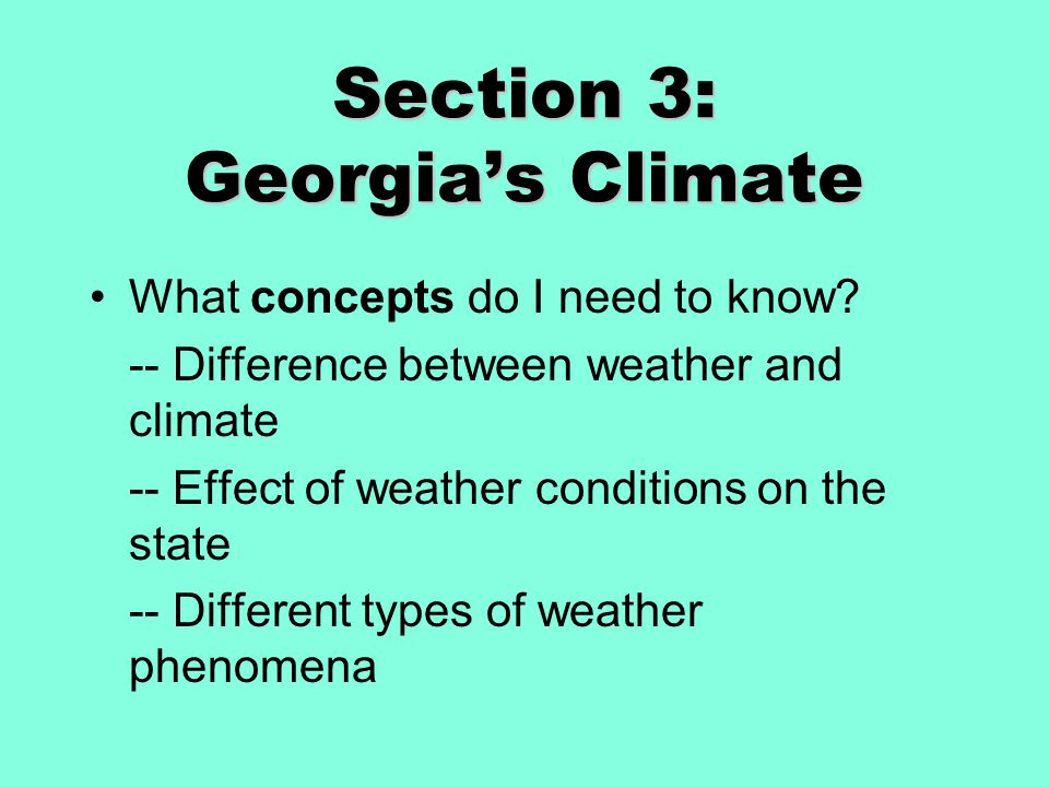 Section 3: Georgia's Climate