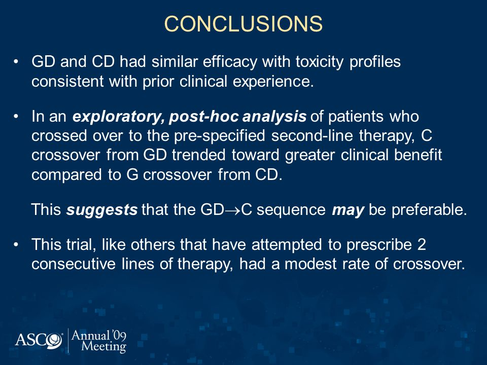 CONCLUSIONS GD and CD had similar efficacy with toxicity profiles consistent with prior clinical experience.