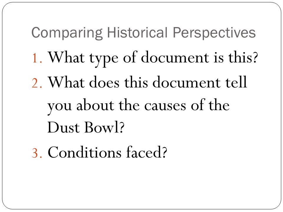 Comparing Historical Perspectives