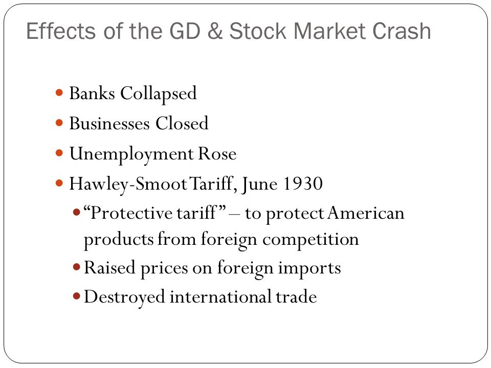 Effects of the GD & Stock Market Crash
