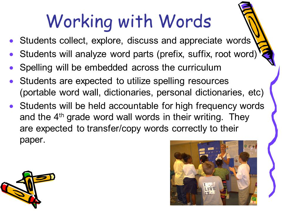 Working with Words Students collect, explore, discuss and appreciate words. Students will analyze word parts (prefix, suffix, root word)