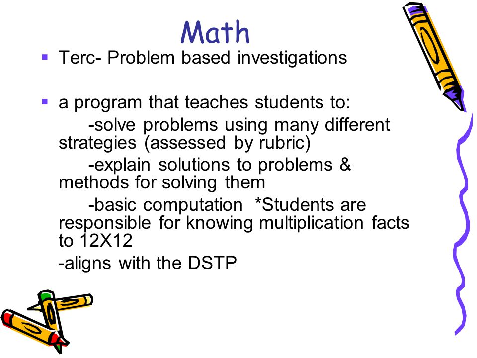 Math Terc- Problem based investigations