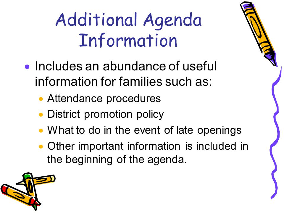Additional Agenda Information