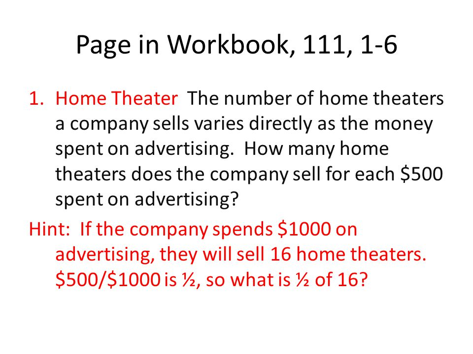 Page in Workbook, 111, 1-6