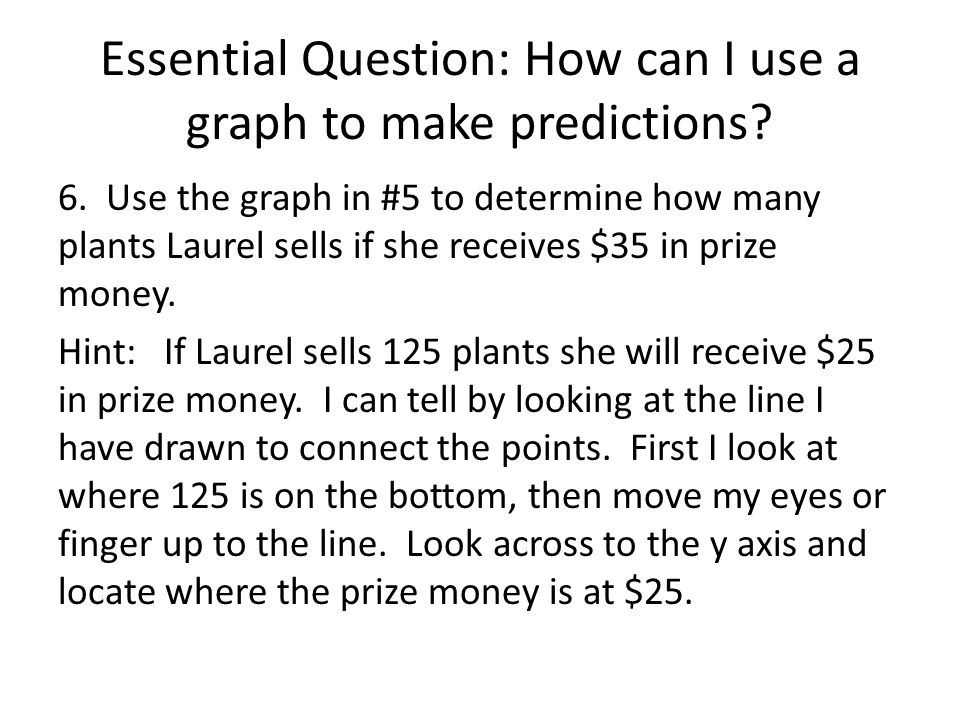 Essential Question: How can I use a graph to make predictions