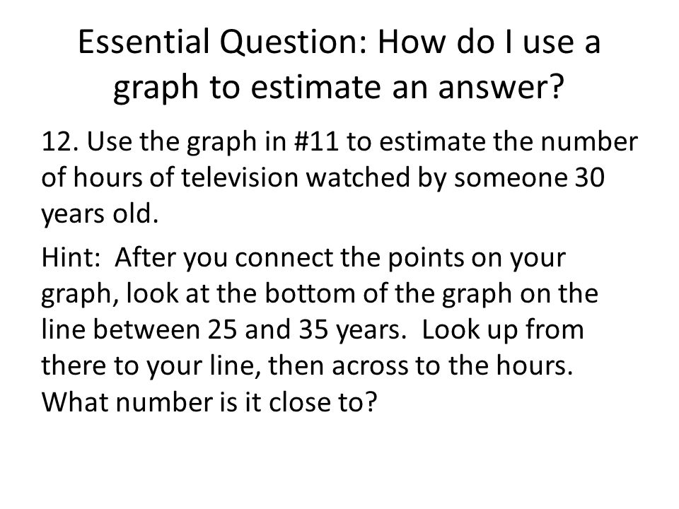 Essential Question: How do I use a graph to estimate an answer