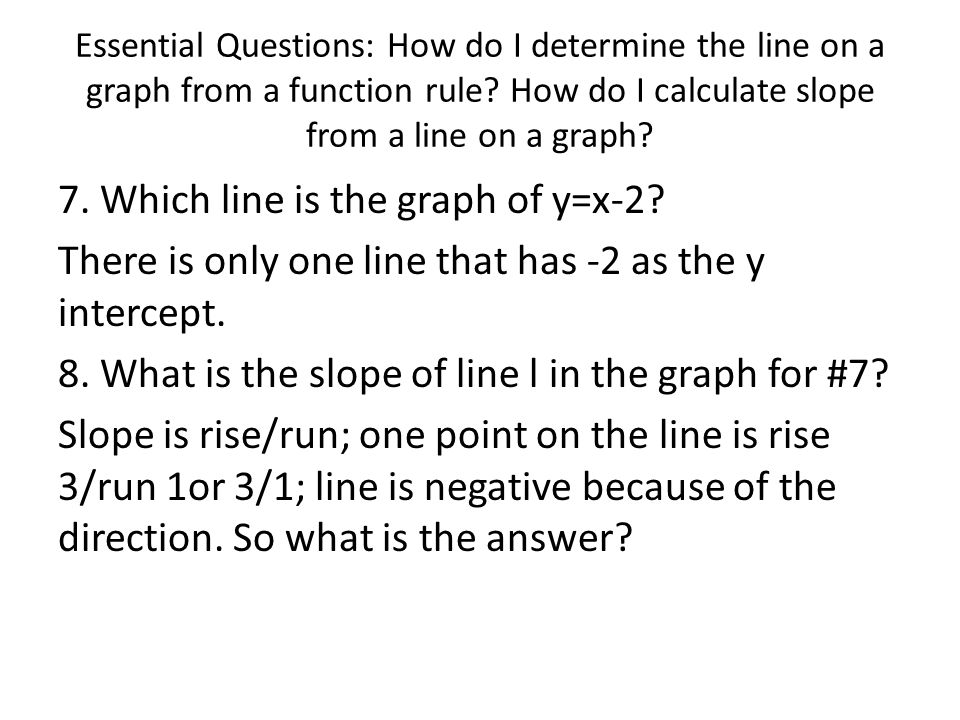 Essential Questions: How do I determine the line on a graph from a function rule How do I calculate slope from a line on a graph