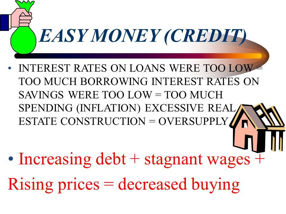 EASY MONEY (CREDIT) Increasing debt + stagnant wages +