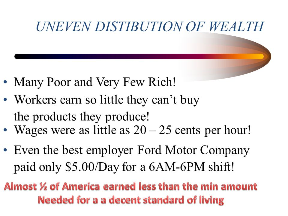UNEVEN DISTIBUTION OF WEALTH