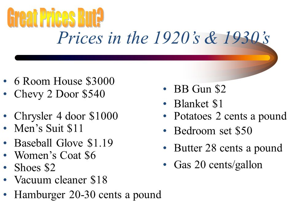 Prices in the 1920's & 1930's Great Prices But 6 Room House $3000