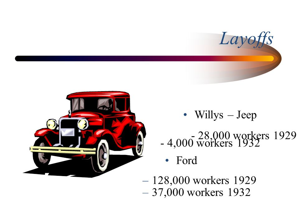 Layoffs Willys – Jeep - 28,000 workers 1929 - 4,000 workers 1932 Ford