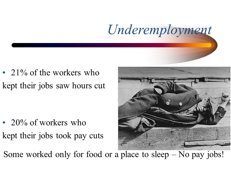 Underemployment 21% of the workers who kept their jobs saw hours cut