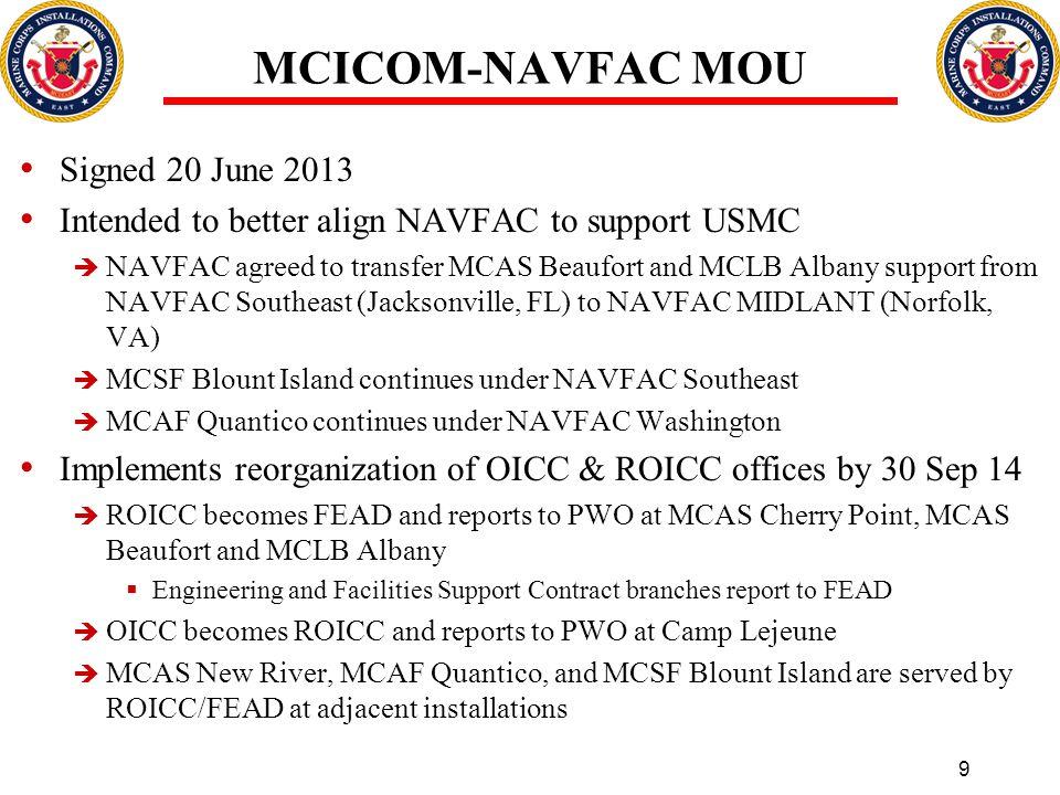 MCICOM-NAVFAC MOU Signed 20 June 2013