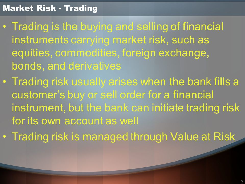 Trading risk is managed through Value at Risk