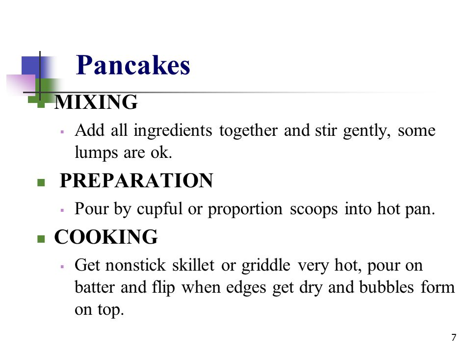 Pancakes MIXING PREPARATION COOKING
