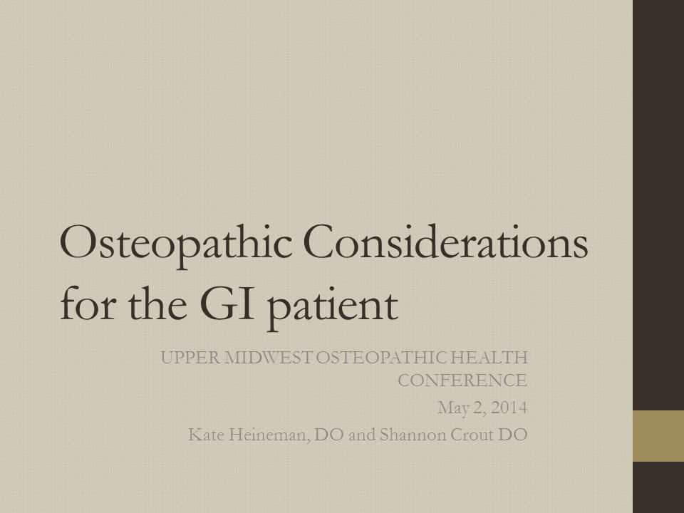 Osteopathic Considerations for the GI patient