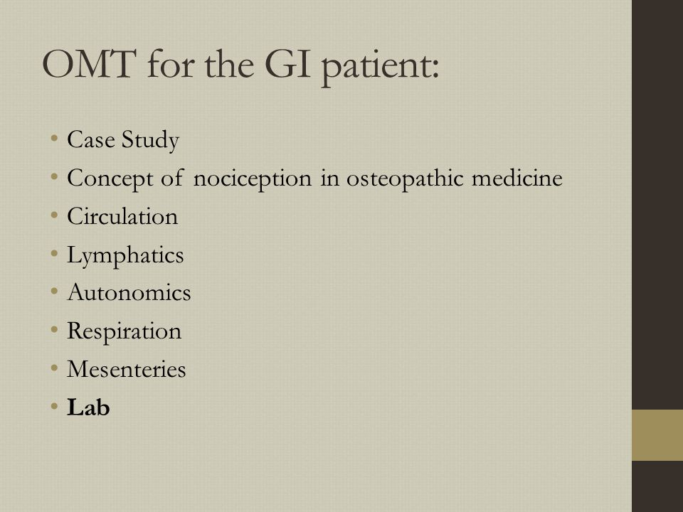 OMT for the GI patient: Case Study