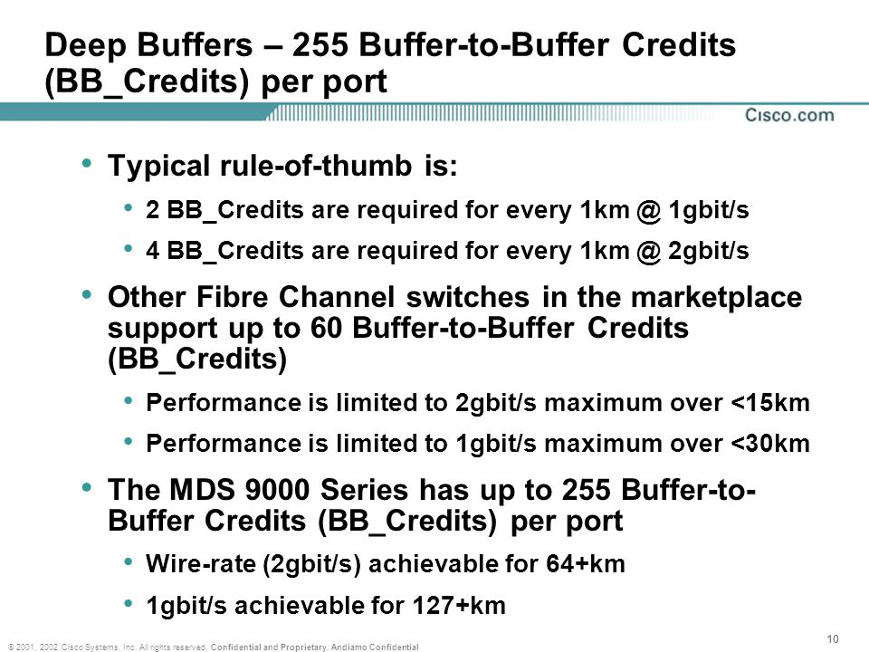 Deep Buffers – 255 Buffer-to-Buffer Credits (BB_Credits) per port