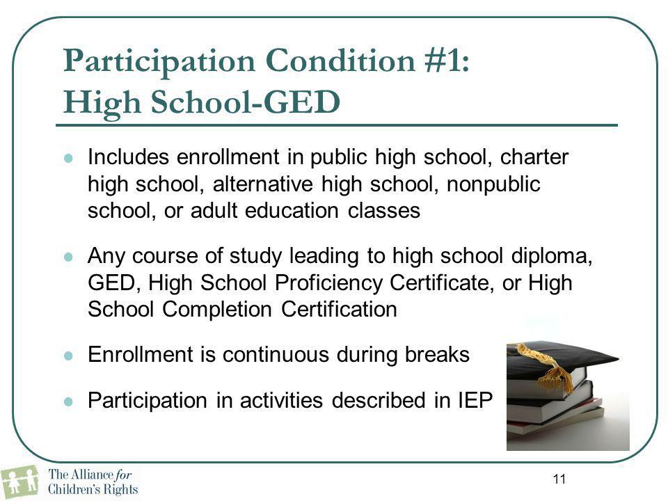 Participation Condition #1: High School-GED