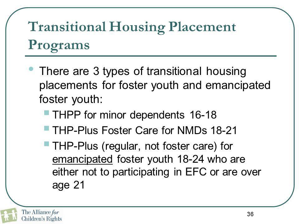 Transitional Housing Placement Programs
