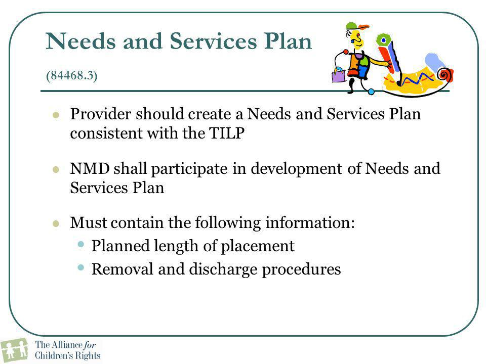 Needs and Services Plan (84468.3)
