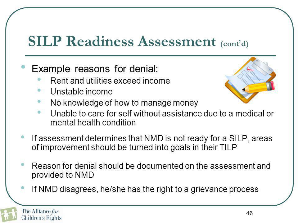 SILP Readiness Assessment (cont'd)