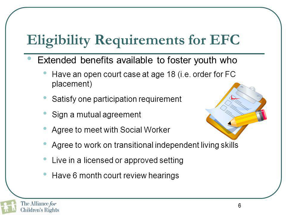 Eligibility Requirements for EFC