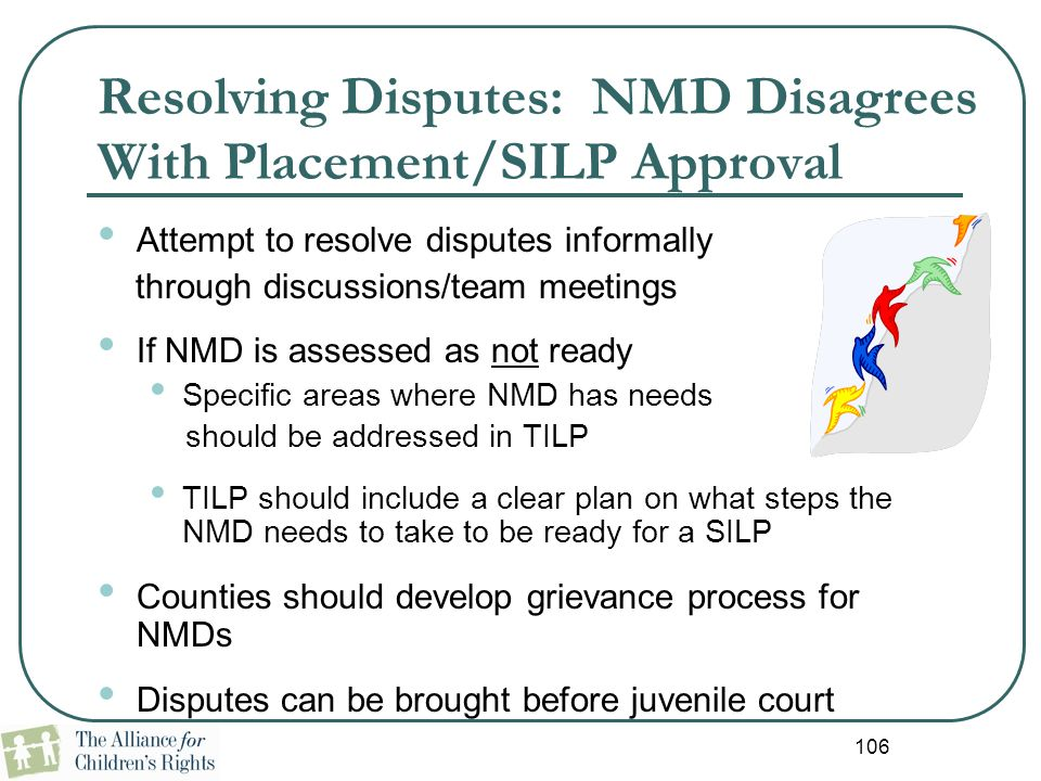 Resolving Disputes: NMD Disagrees With Placement/SILP Approval