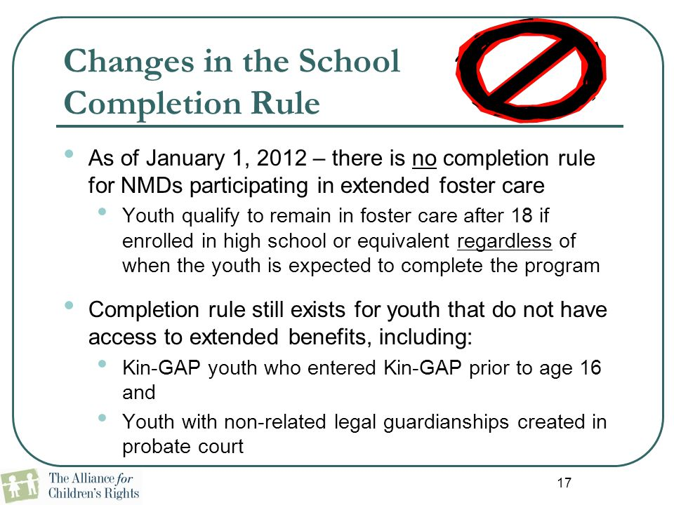 Changes in the School Completion Rule