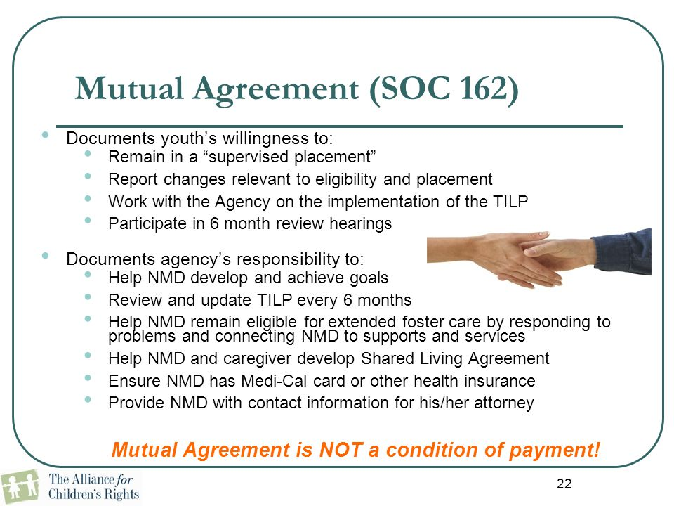 Mutual Agreement (SOC 162)