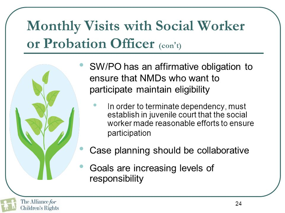 Monthly Visits with Social Worker or Probation Officer (con't)