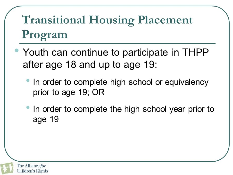 Transitional Housing Placement Program