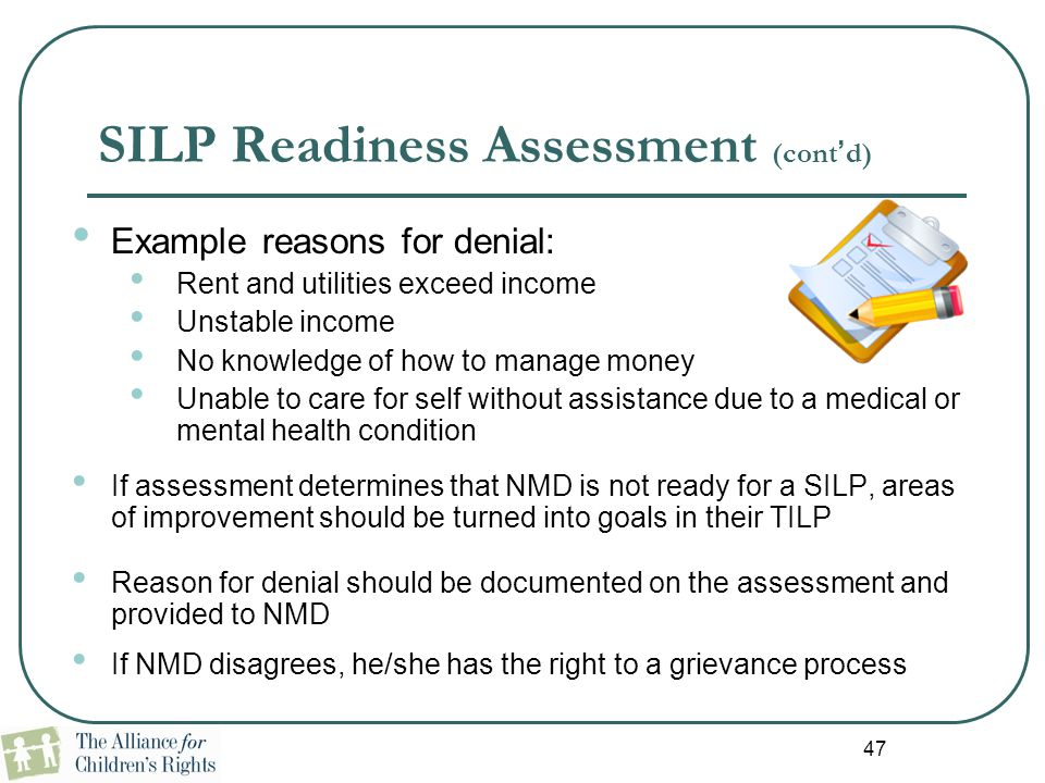 SILP Readiness Assessment (cont'd)