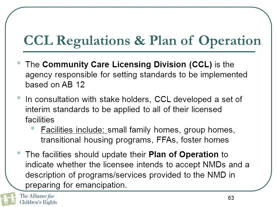 CCL Regulations & Plan of Operation
