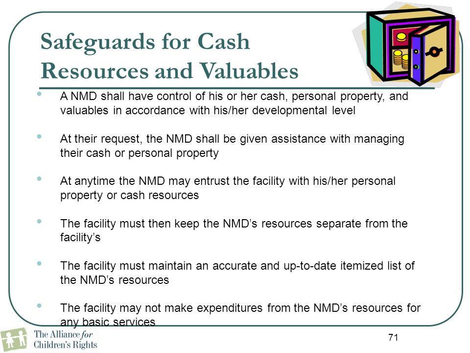 Safeguards for Cash Resources and Valuables