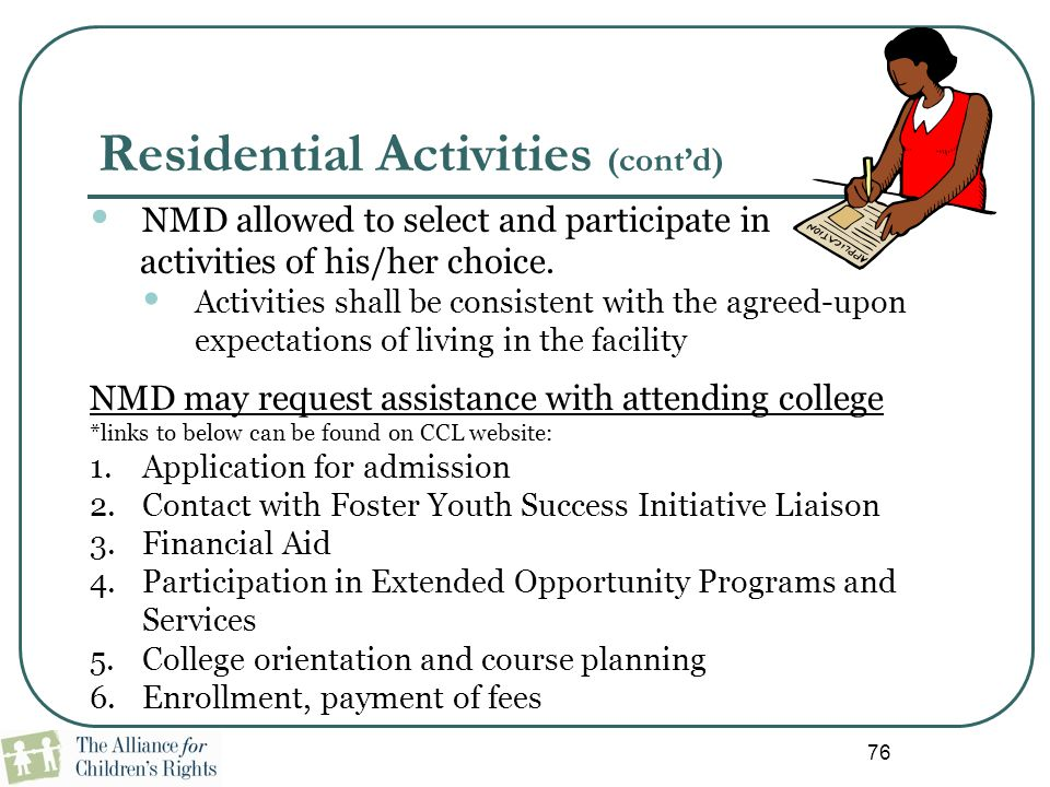 Residential Activities (cont'd)