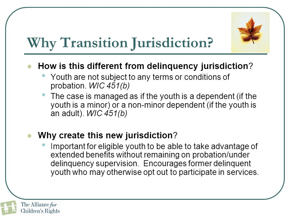 Why Transition Jurisdiction