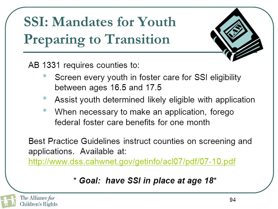 SSI: Mandates for Youth Preparing to Transition
