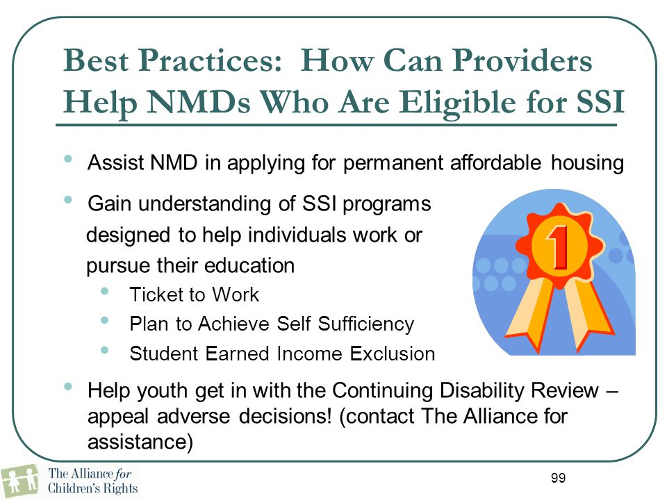Best Practices: How Can Providers Help NMDs Who Are Eligible for SSI