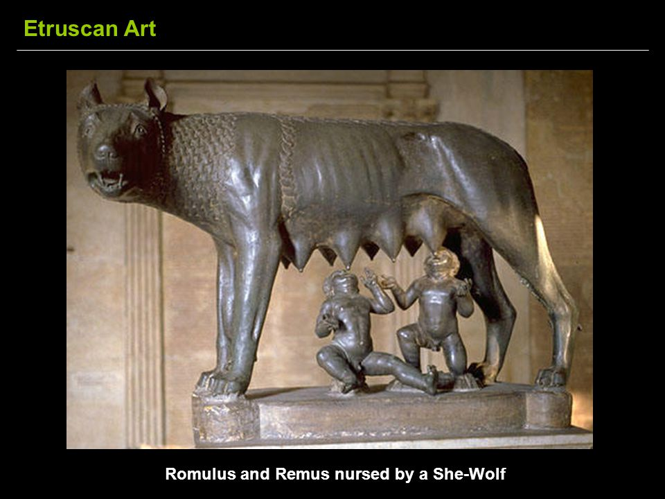 Romulus and Remus nursed by a She-Wolf