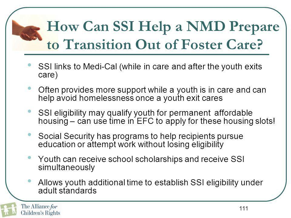 How Can SSI Help a NMD Prepare to Transition Out of Foster Care