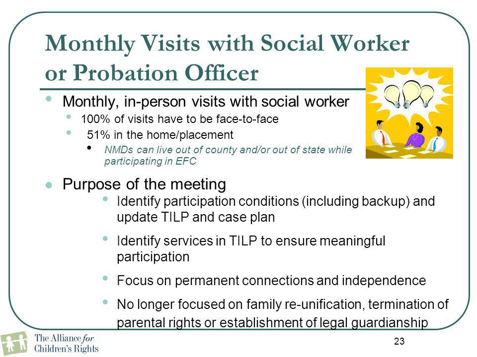 Monthly Visits with Social Worker or Probation Officer