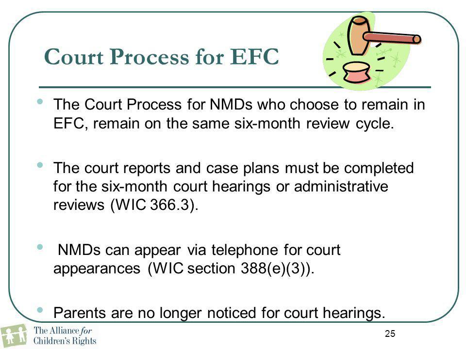 Court Process for EFC The Court Process for NMDs who choose to remain in EFC, remain on the same six-month review cycle.