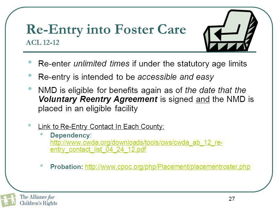 Re-Entry into Foster Care ACL 12-12