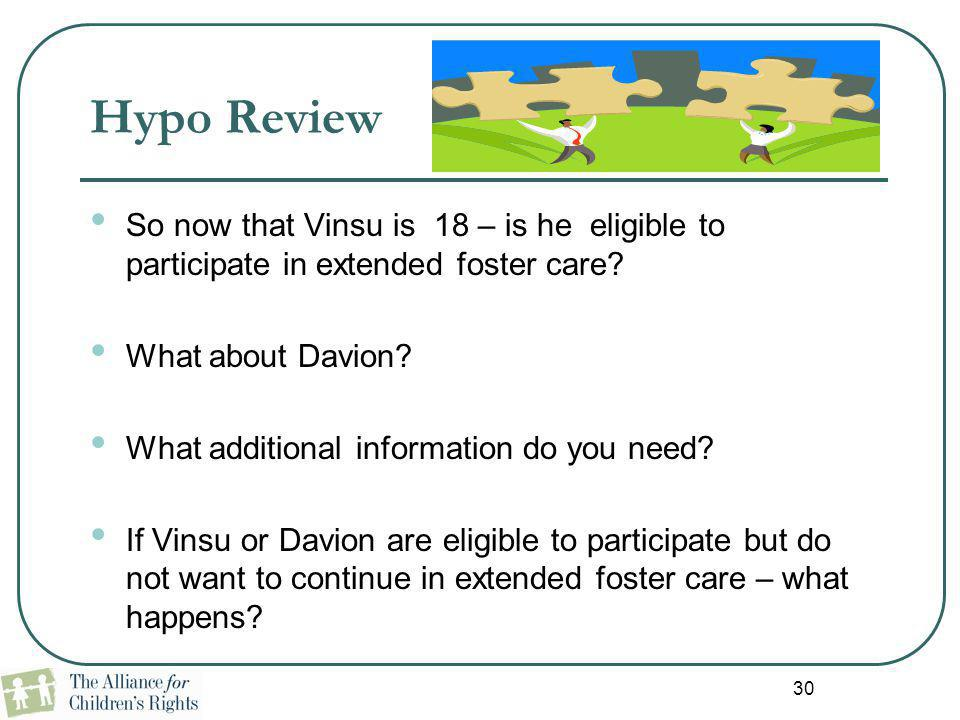Hypo Review So now that Vinsu is 18 – is he eligible to participate in extended foster care What about Davion