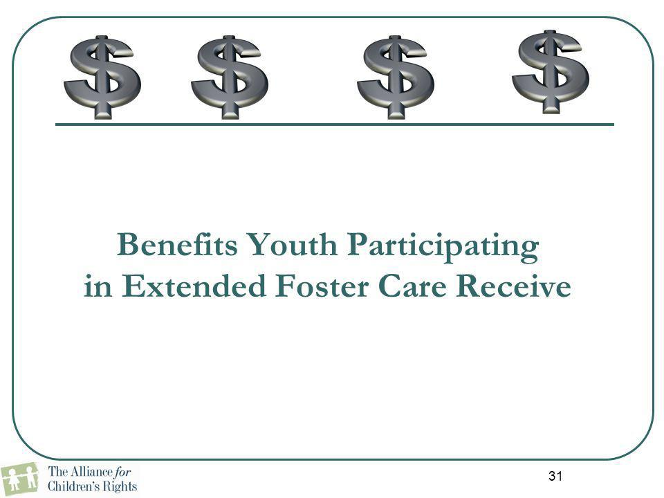 Benefits Youth Participating in Extended Foster Care Receive