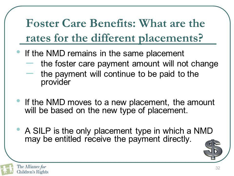 Foster Care Benefits: What are the rates for the different placements