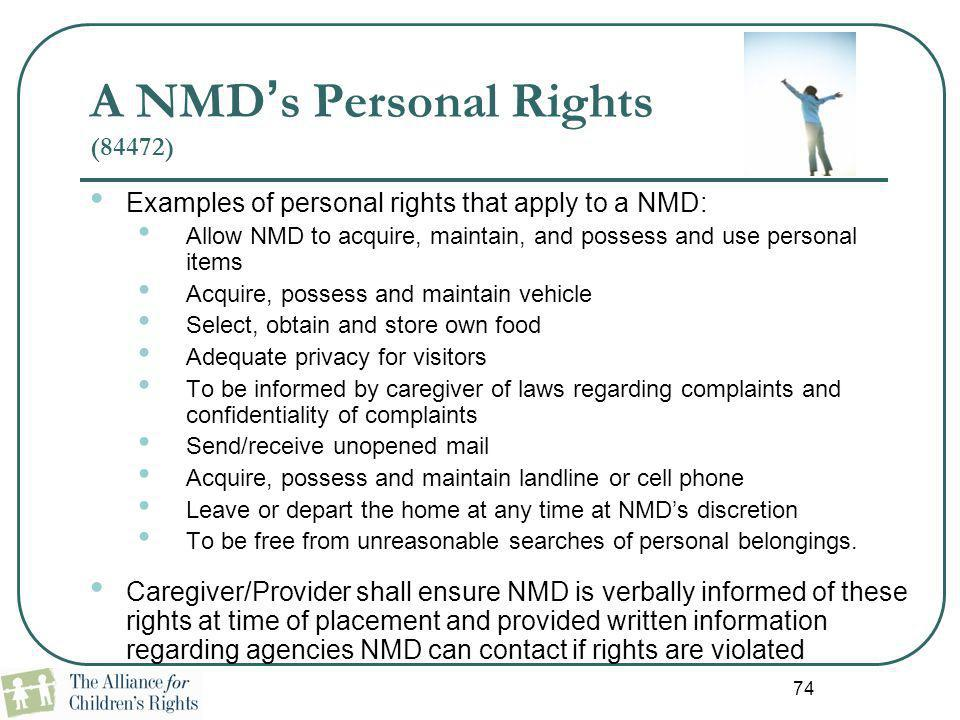 A NMD's Personal Rights (84472)