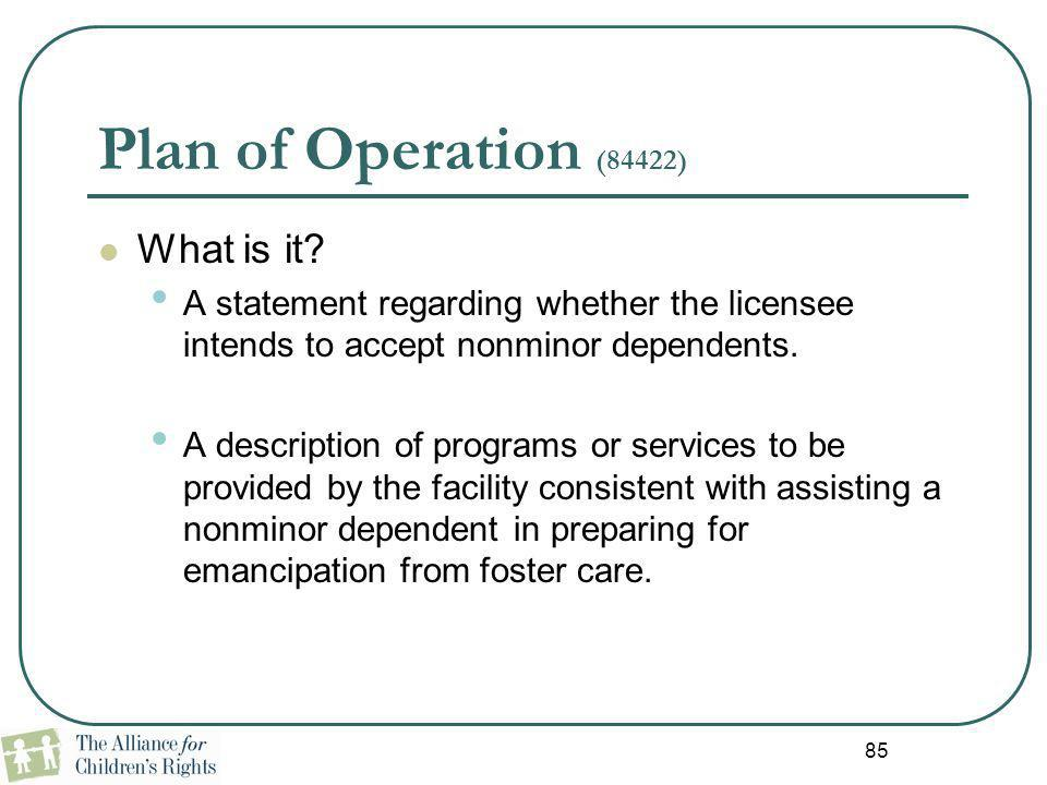Plan of Operation (84422) What is it